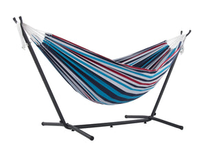 Red, White and Blue Striped Brazilian Hammock with Steel Stand - The Hamptons Collection