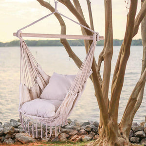 Hanging Hammock Net Swing Chair with Two Cushions