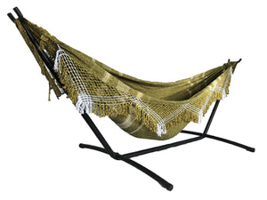Coco Bromelia Brazilian Hammock with Fringe with Bonus Bag - 100% Soft and Stretchy Cotton from (Pineapple)
