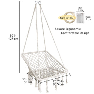 Square Shape Cotton Hammock Chair with Lights - KINDEN