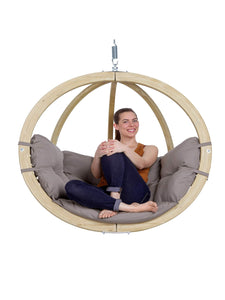 Grey Single Globo Hanging Chair with Cushions - Outdoor Living and Style