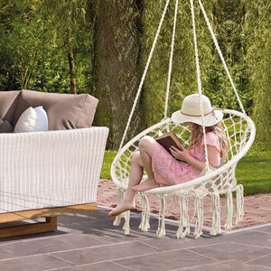 Handmade Knitted Macrame Hanging Swing Chair - Mertonzo