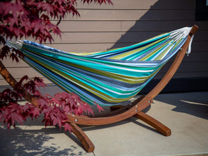 Blue and White Striped Brazilian Hammock with Stand - The Hamptons Collection