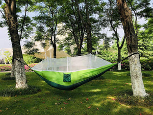 Parachute Nylon Single & Double Camping Hammock with Mosquito Net - DSTong