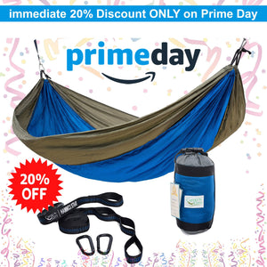 Rip Resistant Single Parachute Camping Hammock with Tree Straps - Camp is easy