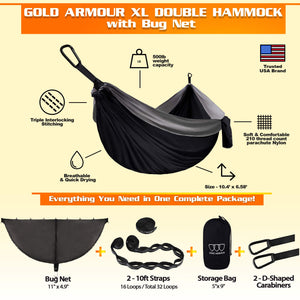 XL Hammock with Bug Net - Gold Armour