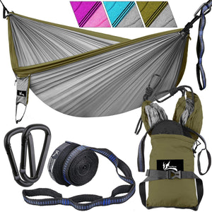 Nylon Parachute Double Camping Hammock with Tree Straps - OUTDRSY