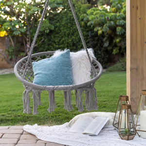 Hanging Cotton Macrame Rope Hammock Lounge Swing - Best Choice Products
