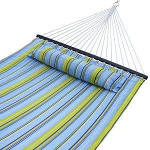 Quilted Fabric Double Cotton Hammock with Pillow & spreader bar- ZENY