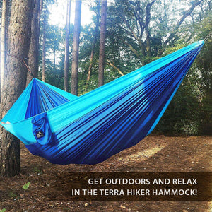 Nylon Camping Hammock with Straps & Carabiners - Terra Hiker