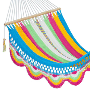 Multicolor Cotton Hand Woven Rope Hammock - NOVICA