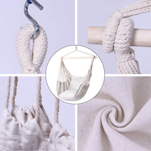 Hammock Chair Hanging Rope Swing with 2 Seat Cushions - Y- STOP
