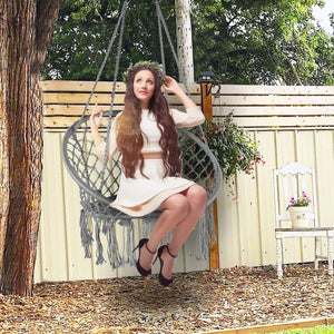 Hanging Knitted Mesh Cotton Rope Macrame Swing - LAZZO