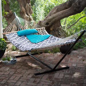 11 ft. Cotton Rope Hammock with Metal Stand