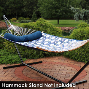 Quilted Double Hammock with 2 Curved Bamboo Spreader Bars - Sunnydaze