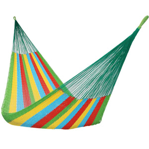 Hand-Woven Multi-Color Single Size Mayan Hammock - Sunnydaze