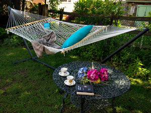Adjustable Double Cotton Rope Hammock - The Hamptons Collection