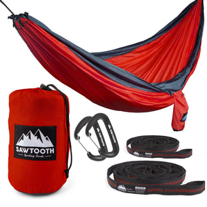 Sawtooth Double Camping Hammock with Tree Straps and Aluminum Carabiners