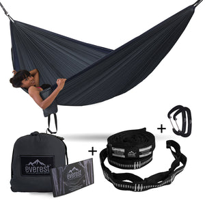 Double Camping Hammock with Carabiners & Tree Saver Straps - Everest