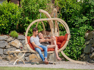 Double Globo Hanging Chair with Orange Cushions - Outdoor Living and Style