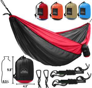 Nylon Double Camping Hammock with Straps - Moontes