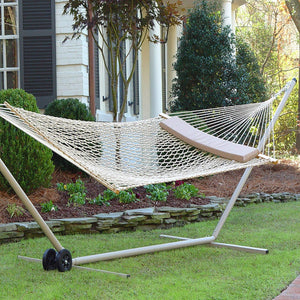 Taupe Polyester Rope Hammock with Pillow - Castaway Hammocks