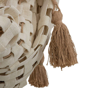 Brown and Ivory Hand Woven Cotton Rope Hammock - NOVICA