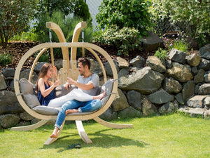 Double Globo Hanging Chair with Grey Cushions - Outdoor Living and Style