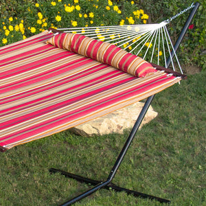 Quilted Double Hammock with Detachable Pillow & Spreader Bar - Best Choice Products