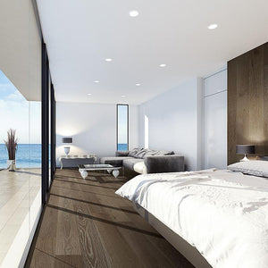Amarosa Grande Profundo Oak Hardwood in Bedroom by the Ocean Room Scene