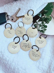 Drive safe - hand stamped keychain