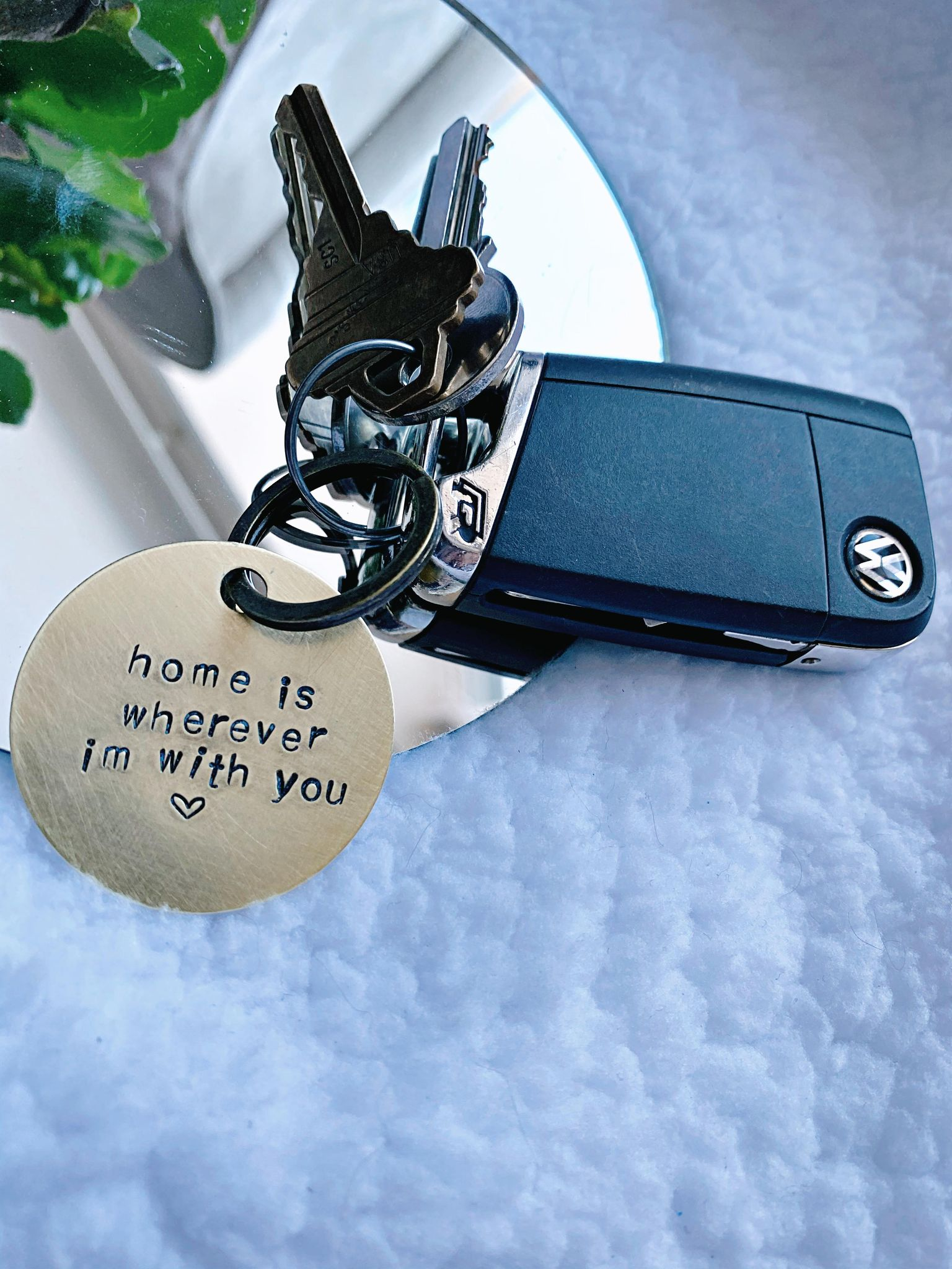 Home is wherever I'm with you - hand stamped keychain