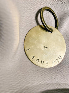 I love you - hand stamped keychain