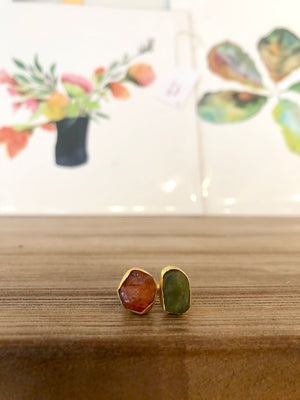 Carnelian and Peridot Ring
