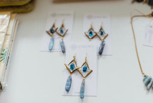 Blue Crystal Drop Earrings