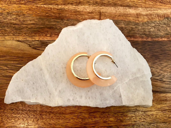 Peach Lucite Hoop Earrings
