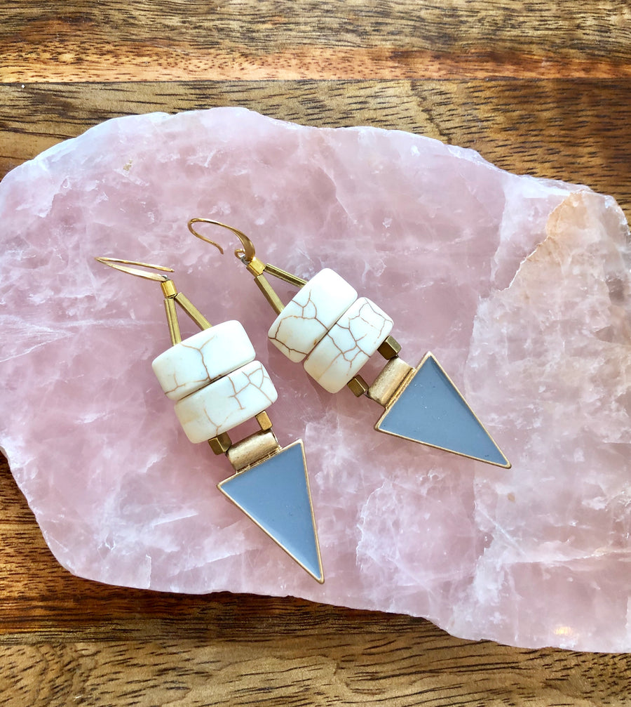 Brass Magnesite Earrings