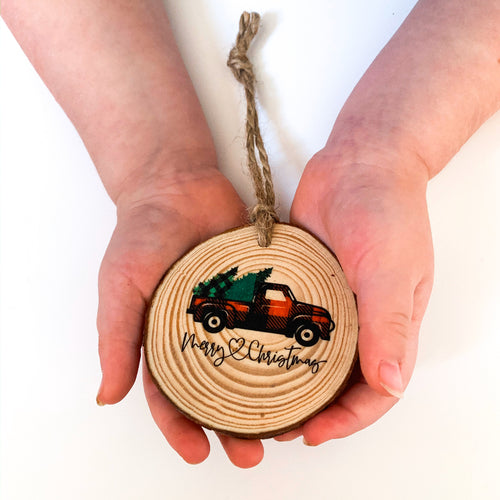 Buffalo Plaid Christmas Truck Ornament