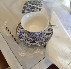 Blue and White Bird Tea Cup and Saucer