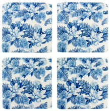 Load image into Gallery viewer, Blue and White Floral Coaster Set