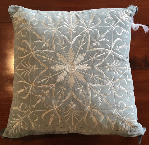 Sea Mist Constantine Embroidered Cushion