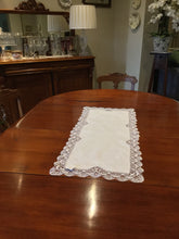 Load image into Gallery viewer, White Cluney Lace Table Linen