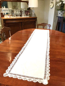 White Cluney Lace Table Linen