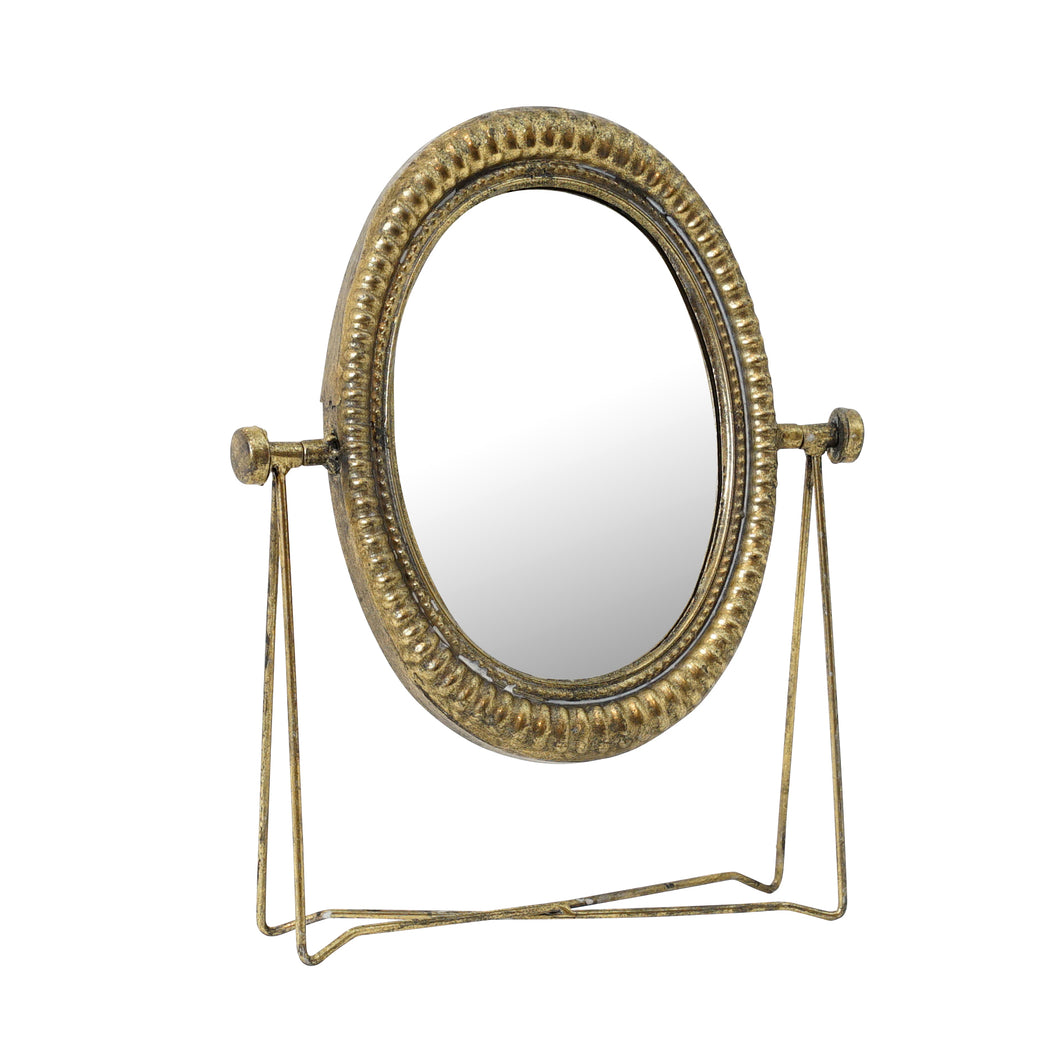 Oval Gold Table Mirror