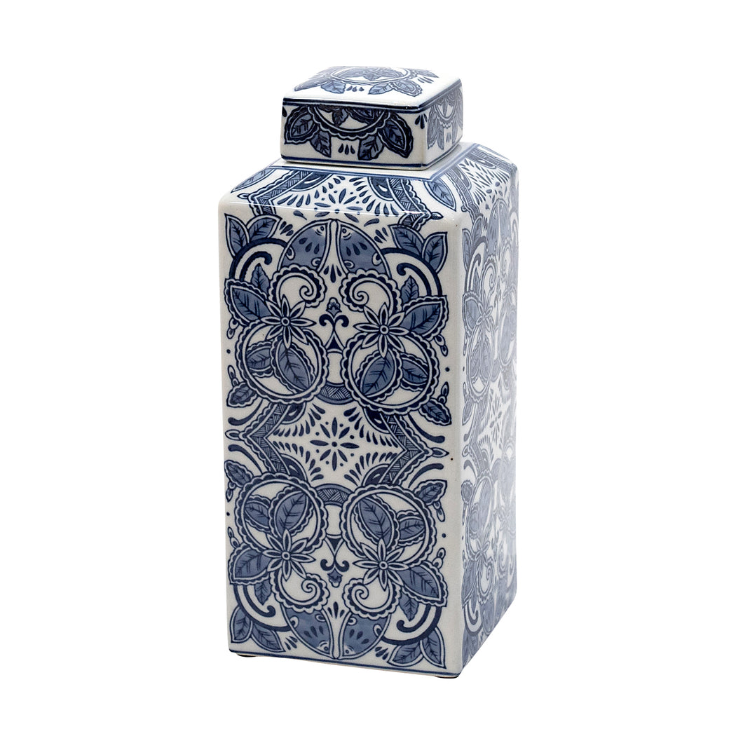 Frume Blue and White Square Jar