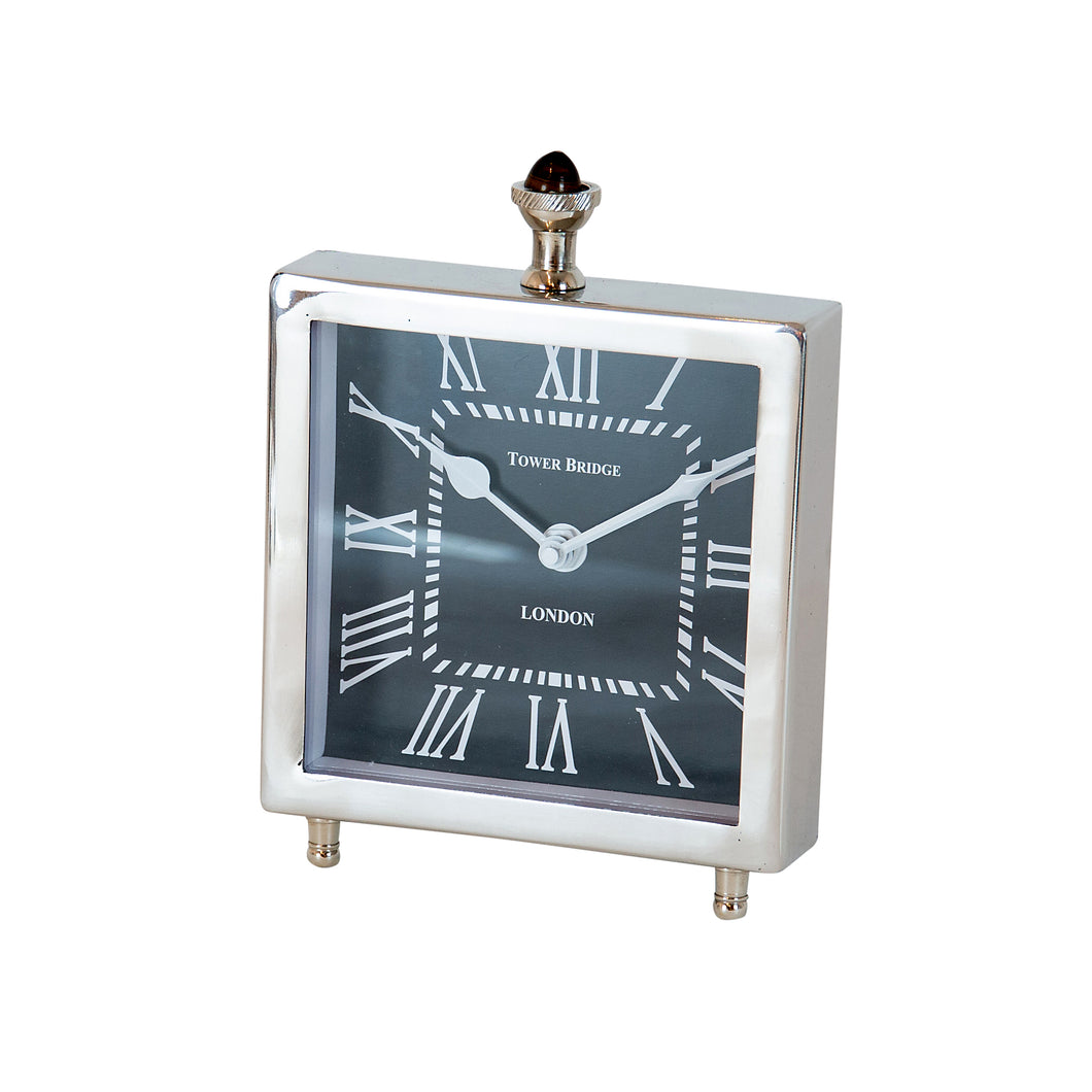 Tower Nickel Square clock with a black face