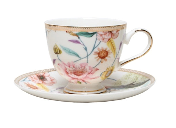 Cup and Saucer set Blanc Chintz