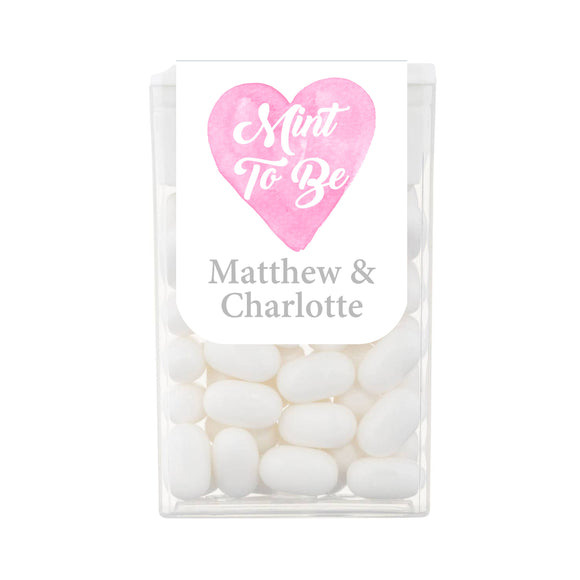 Mint To be Watercolour Pink Heart Tic Tac Favours