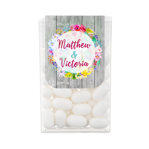 Colourful Floral Wood Personalised Tic Tacs