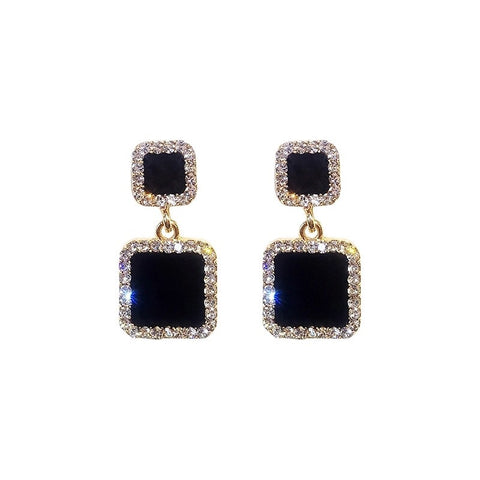 Oksana Square Rhinestone Earrings